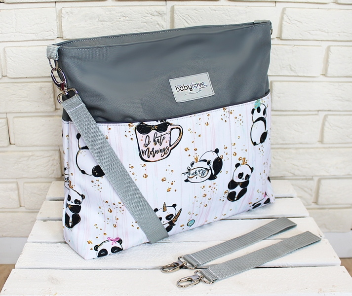Stylová taška na kočárek Baby Nellys Hand Made - Panda - šedá, Ce19