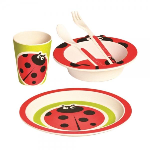 Bambusová eko sada dětského nádobí Mertens 5 ks - Beruška