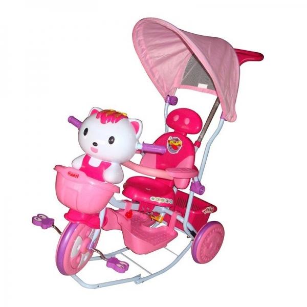 Dětská multifunkční tříkolka Euro Baby Kočička - růžová