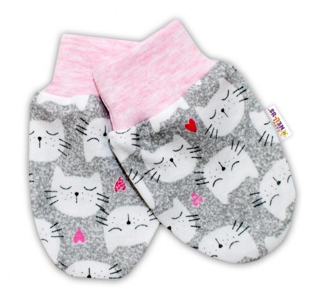Kojenecké rukavičky Baby Nellys ® - Kočičky - sv. růžový lem