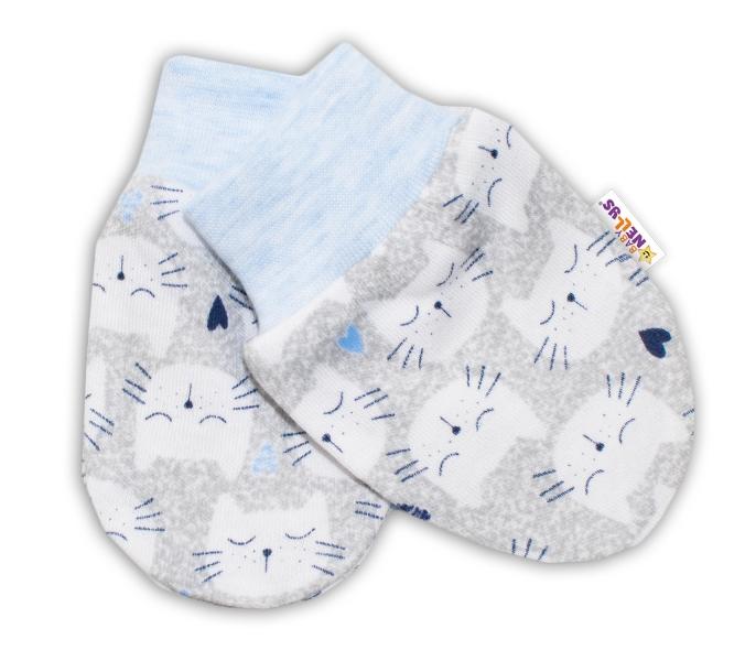 Kojenecké rukavičky Baby Nellys ® - Kočičky - sv. modrý lem