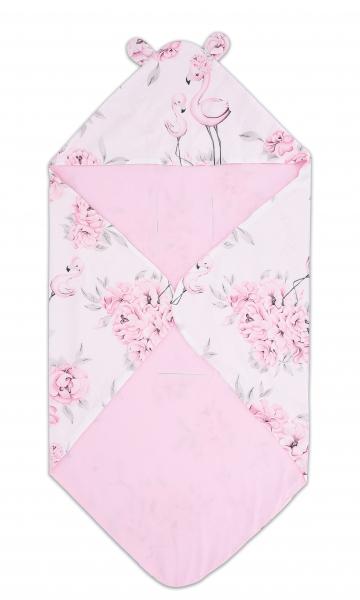 Bavlněná zavinovací deka s kapucí Baby Nellys - Plameňák růžový