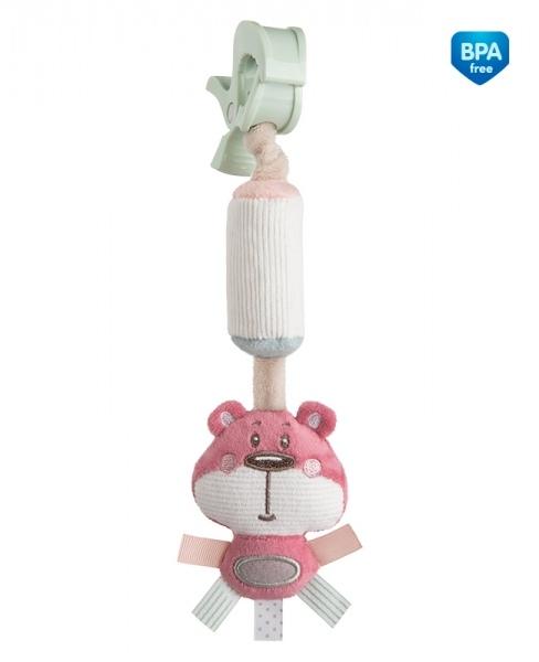 Plyšová hračka s rolničkou  a klipem Canpol Babies - Medvídek růžový