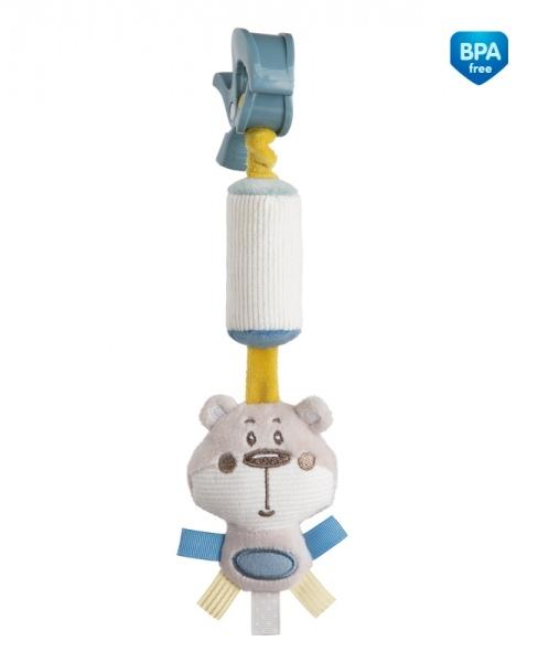 Plyšová hračka s rolničkou  a klipem Canpol Babies - Medvídek šedý