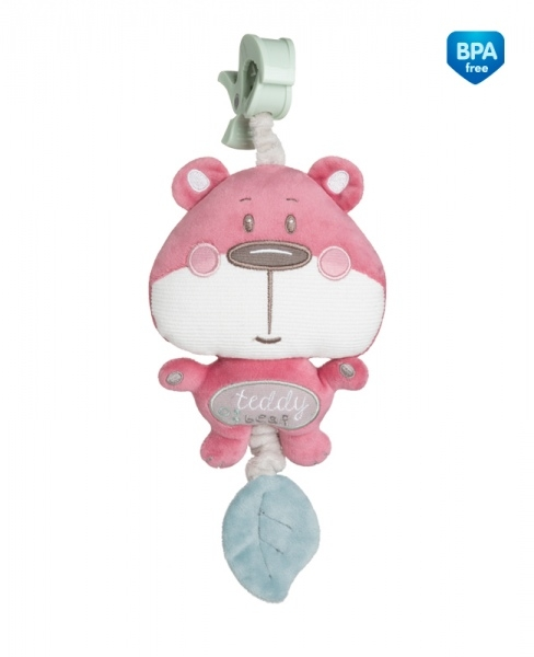 Fotografie Plyšová hračka s melodií a klipem Canpol Babies - Medvídek růžový