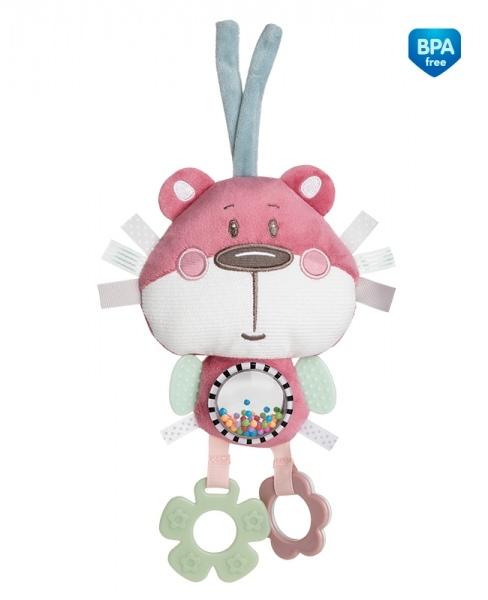 Plyšová edukační hračka na zavazování Canpol Babies - Medvídek růžový