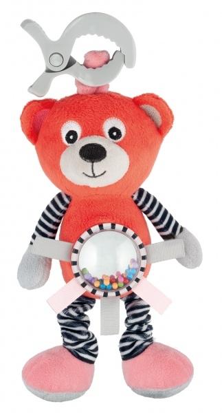 Plyšová hračka s klipem, vibrací a chrastítkem Canpol Babies - Méďa korálový