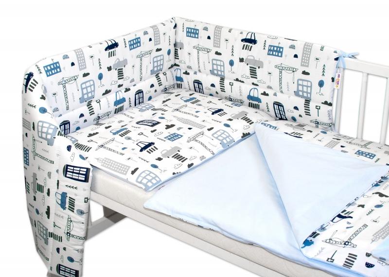 3-dílná sada mantinel s povlečením Baby Nellys, Městečko - bílá, 135 x 100