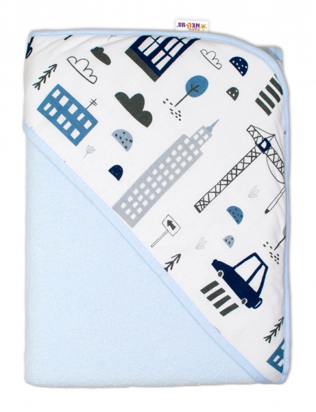 Dětská osuška s kapucí Baby Nellys, Městečko - 100 x 100 cm  - modrá/bílá