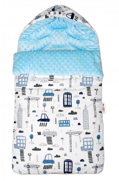 Bavlněný fusak Baby Nellys, minky, Městečko, 45 x 95 cm - bílý/sv. modrý