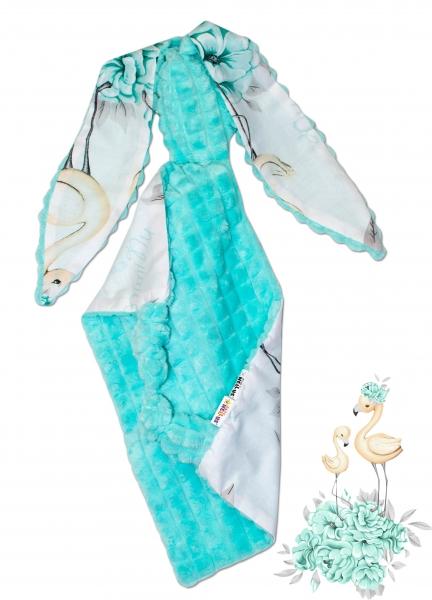 Baby Nellys Mazlík, přítulníček Králíček, minky + bavlna, 43 x 40 cm - Plameňák - mátový