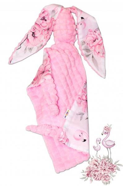Baby Nellys Mazlík, přítulníček Králíček, minky + bavlna, 43 x 40 cm - Plameňák/růžový