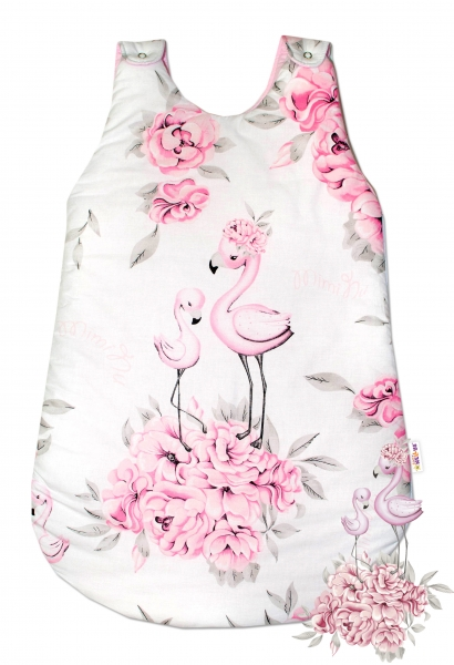 Bavlněný spací vak Baby Nellys, Plameňák, 70 cm - růžový