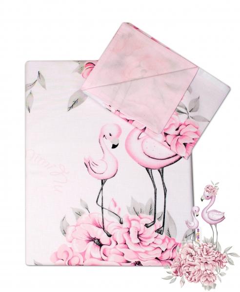 2-dílné bavlněné povlečení Baby Nellys, Plameňák růžový, 135 x 100