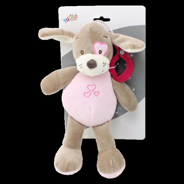 Závěsná plyšová hračka Tulilo s chrastítkem Pejsek, 25 cm - růžový