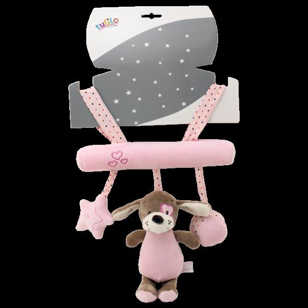 Závěsná plyšová hračka Tulilo s chrastítkem Pejsek, 22 cm - růžový
