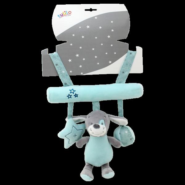 Závěsná plyšová hračka Tulilo s chrastítkem Pejsek, 22 cm - mátový