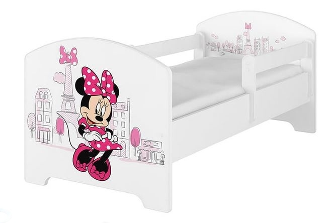 BabyBoo Dětská postel Disney - Minnie Paris - bílá, s matrací