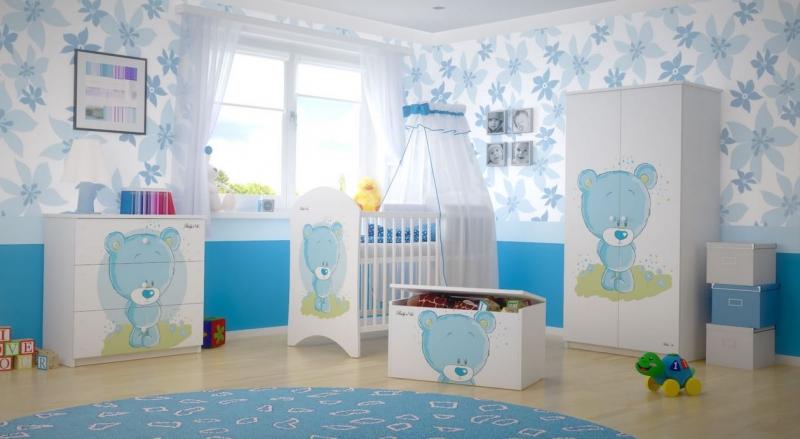 BabyBoo Dětská skříň - Medvídek STYDLÍN modrý, D19