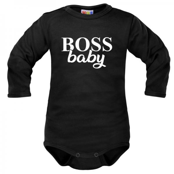 Body dlouhý rukáv Dejna Boss baby - černé, vel. 74, Velikost: 74 (6-9m)