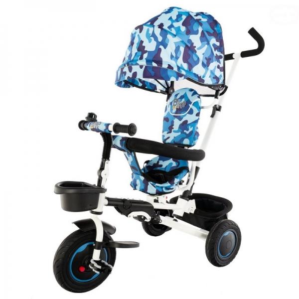 Dětská tříkolka BIKE Euro Baby s bohatou výbavou 2019 - modrý maskáč