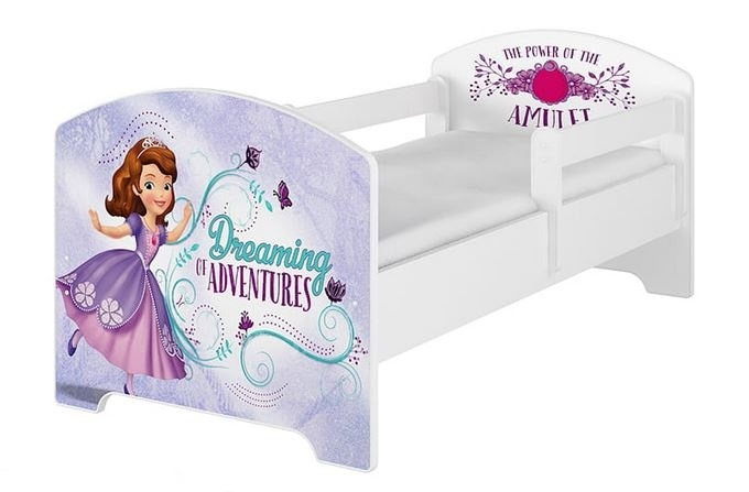 BabyBoo Dětská postel Disney - Sofie - bílá, s matrací, 160 x 80 cm, Velikost: 160x80