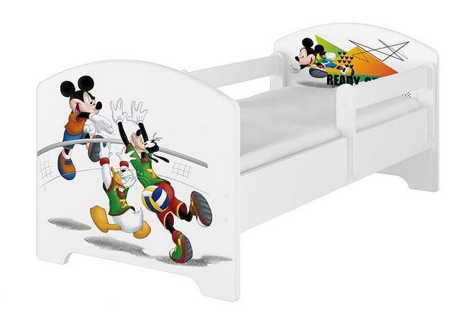 BabyBoo Dětská postel Disney - Mickey Ready - bílá, s matrací, 160 x 80 cm