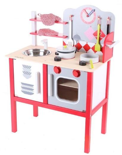 Eco Toys Dřevěná kuchyňka s příslušenstvím, 75 x 55 x 30 cm - červená