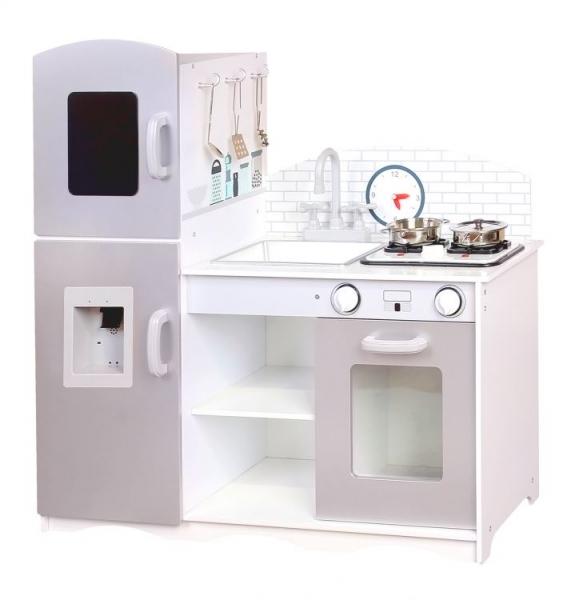 Eco Toys Dřevěná kuchyňka XXL s příslušenstvím,  86 x 92 cm x 30 cm - šedá