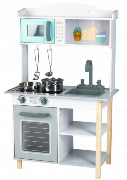 Eco Toys Dřevěná kuchyňka s příslušenstvím, 85 x 60 x 30 cm - šedá