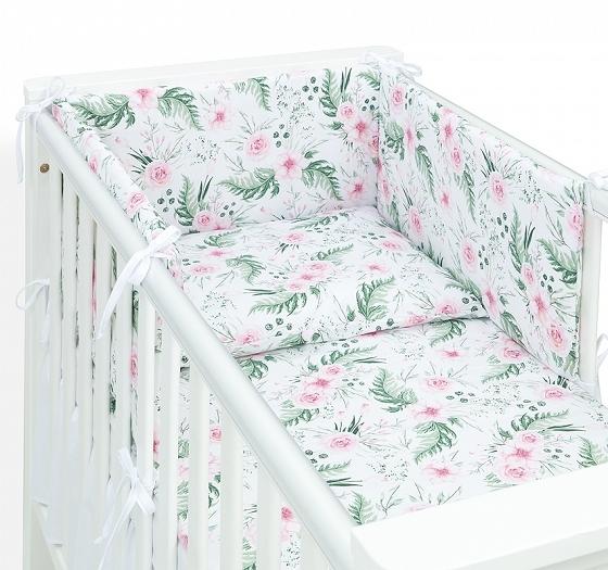 Mamo Tato 3-dílný set do postýlky s  mantinelem  - Růžová zahrada, 135 x 100 cm