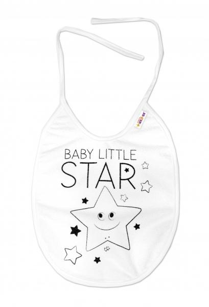 Nepromokavý bryndáček Baby Nellys velký Baby Little Star, 24 x 23 cm - bílá