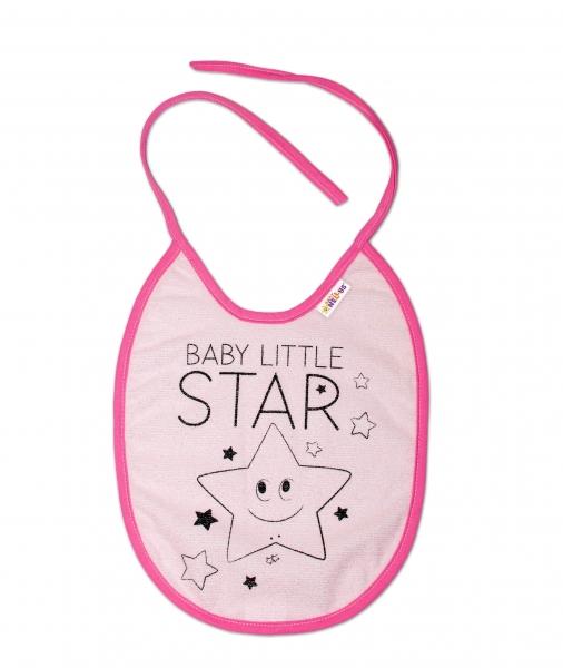 Nepromokavý bryndáček Baby Nellys velký Baby Little Star, 24 x 23 cm - růžová