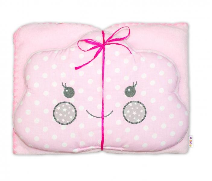 Dětská sada deka + polštářek Mráček Baby Nellys ® - bubble růžová