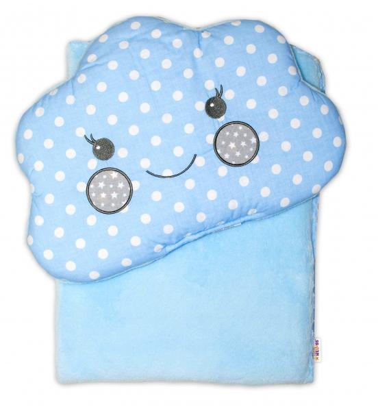 Dětská sada deka + polštářek Mráček Baby Nellys ® - bubble modrá