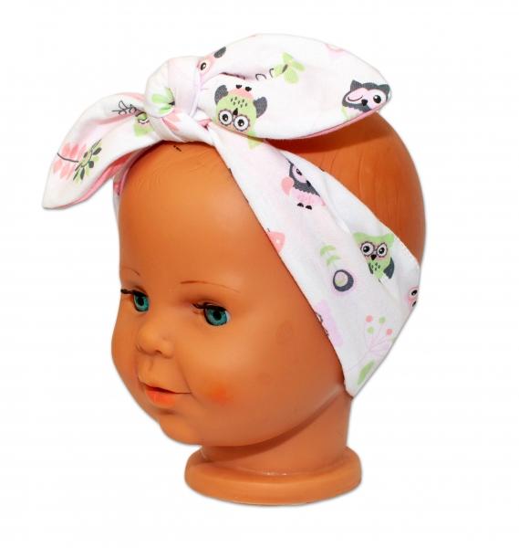 Baby Nellys Čelenka, šátek na zavazování uzlík, uni - bílá se sovičkami, lososová