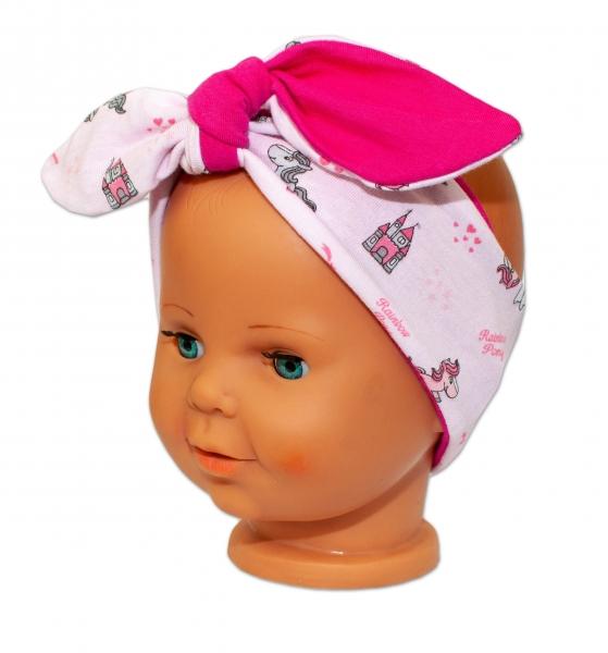 Baby Nellys Čelenka, šátek na zavazování uzlík, uni - sv. růžová s pony, tm. růžová