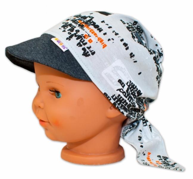 Baby Nellys Šátek na zavazování s kšiltem - Motorky, vel. 46-48