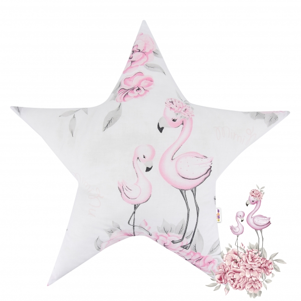 Baby Nellys Bavlněný dětský dekorační polštář, Hvězdička - Plameňák růžový