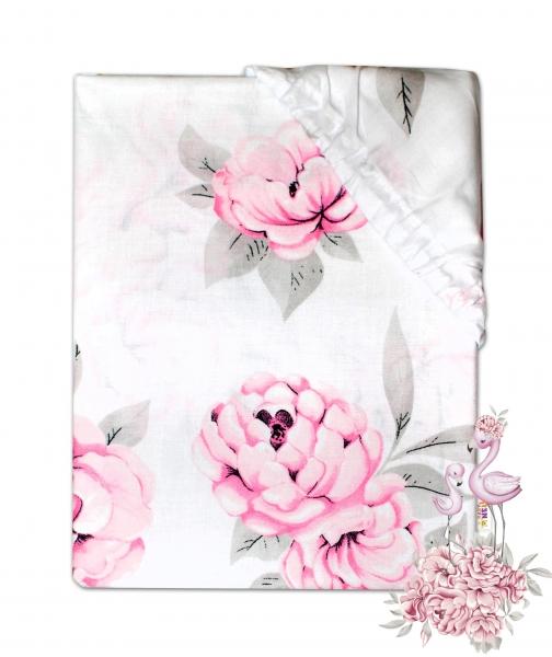 Baby Nellys Dětské bavlněné prostěradlo do postýlky - Plameňák růžový, 140 x 70