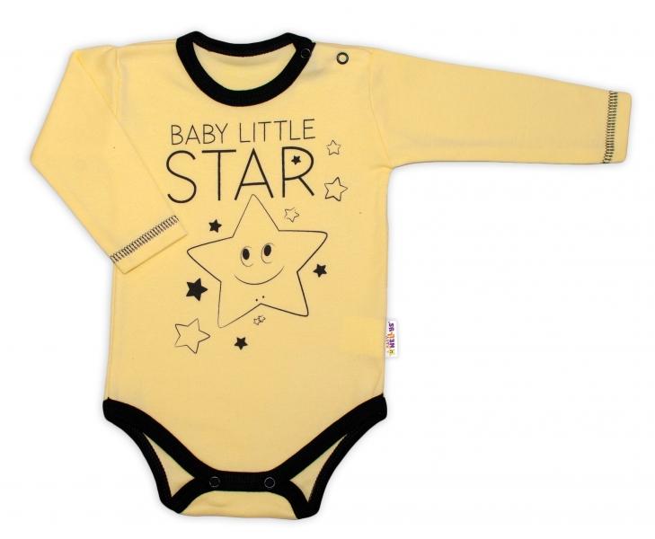 Baby Nellys Body dlouhý rukáv, žluté, Baby Little Star, vel. 56