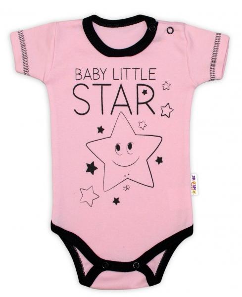 Body krátký rukáv Baby Nellys, Baby Little Star - růžové, vel. 56