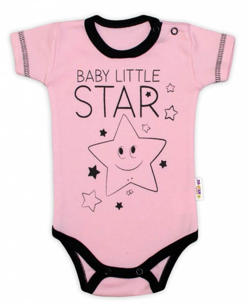 Body krátký rukáv Baby Nellys, Baby Little Star - růžové, vel. 74