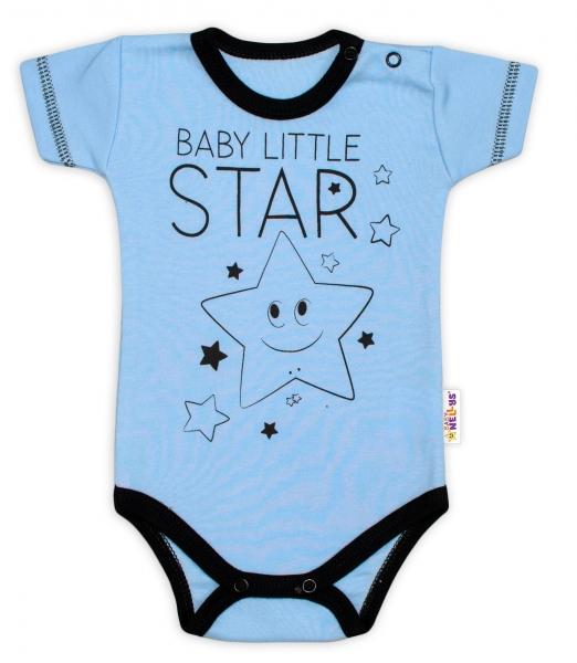 Body krátký rukáv Baby Nellys, Baby Little Star - modré, vel. 56