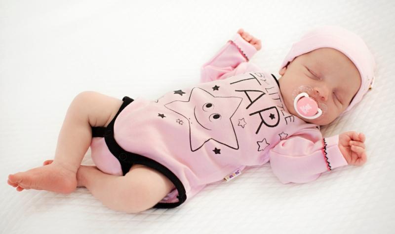 Baby Nellys Body dlouhý rukáv, růžové, Baby Little Star