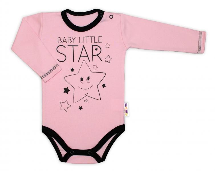 Baby Nellys Body dlouhý rukáv, růžové, Baby Little Star, vel. 68