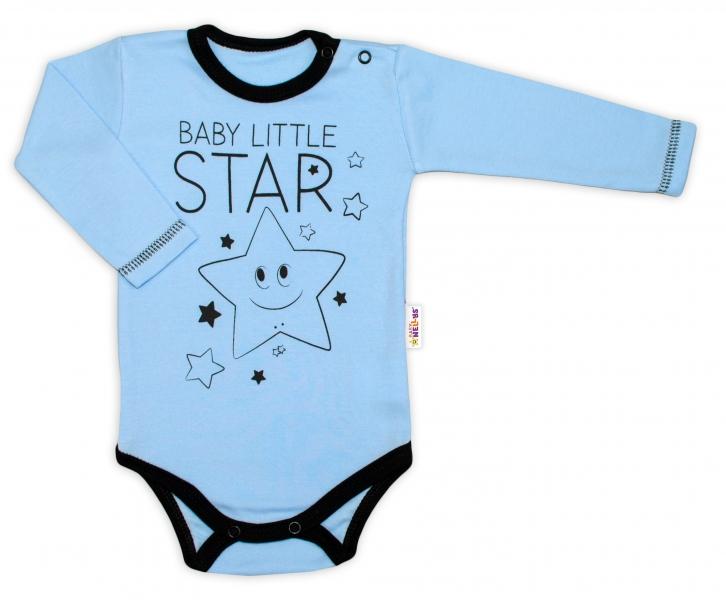 Baby Nellys Body dlouhý rukáv, modré, Baby Little Starvel. 50 (0-1m)