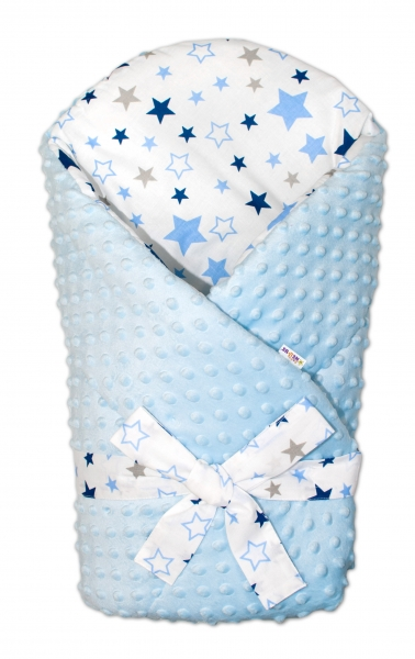Zavinovačka Minky Baby Nellys Hvězdy a hvězdičky - modrá/granát na bílém, sv. modrá