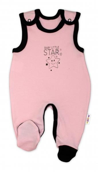 Kojenecké bavlněné dupačky Baby Nellys, Baby Little Star - růžové, vel. 56vel. 56 (1-2m)