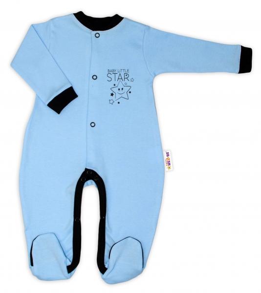 Baby Nellys Bavlněný overálek Baby Little Star - modrý, vel. 80
